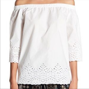 Johnny Was Summer Crochet Off-the-Shoulder Blouse